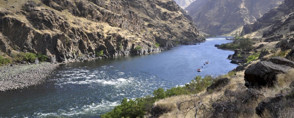 Rafters and Kayakers descend the Snake River through Hells Canyon along the Oregon – Idaho border<br/>-- Danny Warren