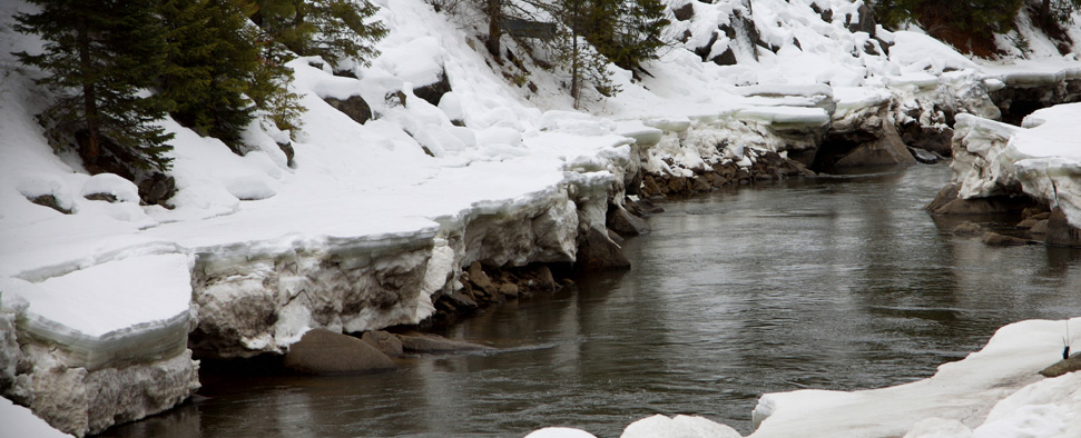 An Idaho stream refusing to freeze<br/>-- James Pauls