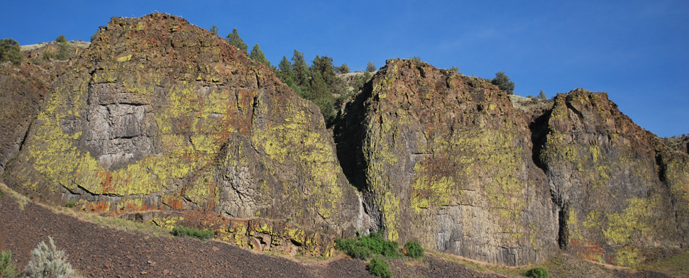 Lichen splattered cliffs on the East side of the Deschutes River, a few miles below Warm Springs<br/>-- Matt Deniston