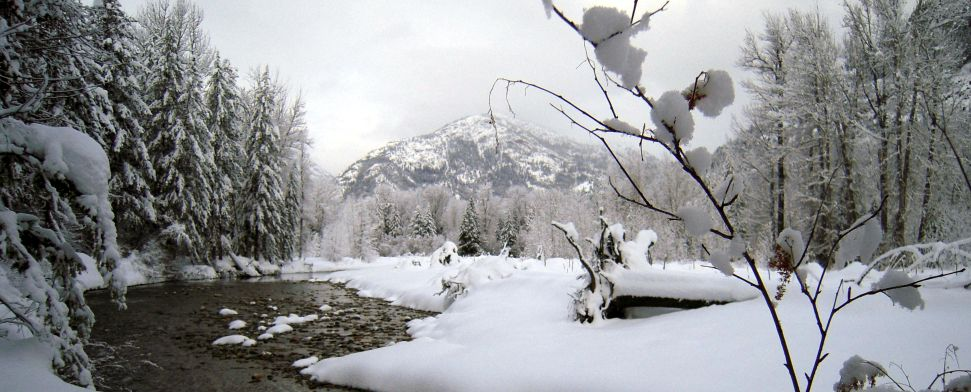 An early December storm covers the upper Methow River valley near Mazama, WA<br/>-- Winston Goodbody